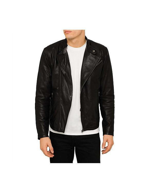 Men's Short Style Leather Biker Jacket - Get Custom Leather Jackets