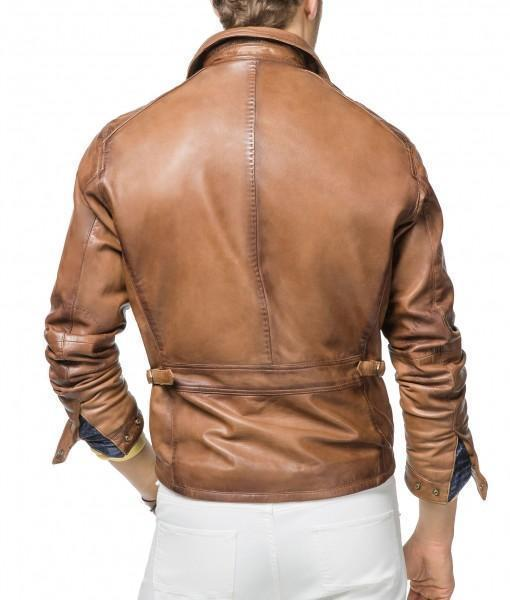Super Tan Brown Men Biker Leather Jackets - Get Custom Leather Jackets
