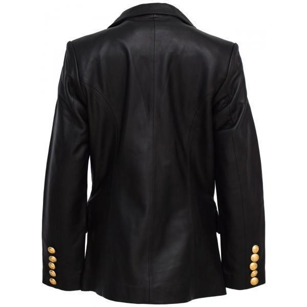 Super Kim Kardashian Double Breasted Women Black Leather Coat - Get Custom Leather Jackets