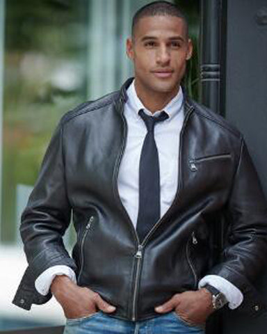 Leather Jacket w Chest Zipper - Get Custom Leather Jackets