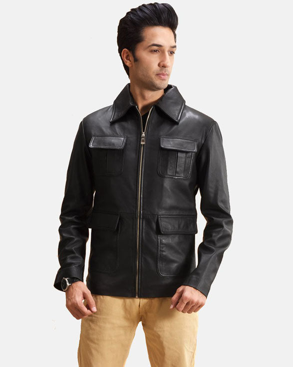 Express Raven Black Leather Jacket for Men - Get Custom Leather Jackets