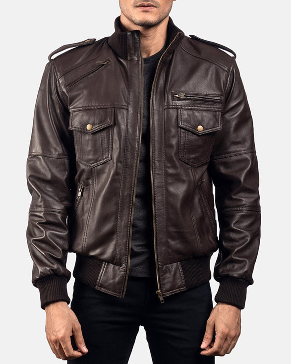 Koke Brown Leather Bomber Jacket - Get Custom Leather Jackets