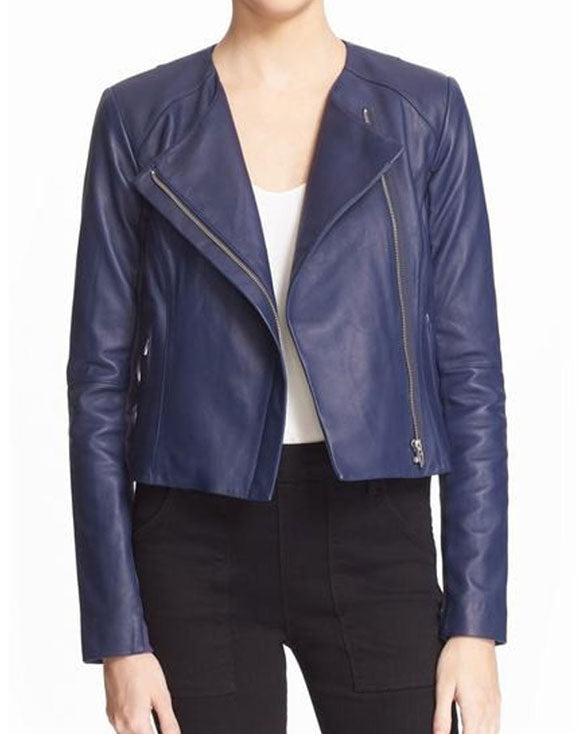 Asymmetrical Style Womens Blue Jacket - Get Custom Leather Jackets