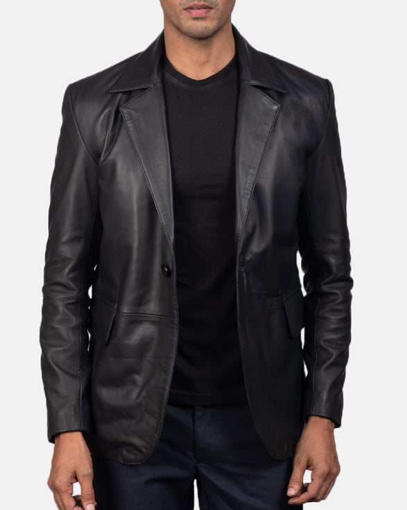 Daron Black Leather Blazer - Get Custom Leather Jackets