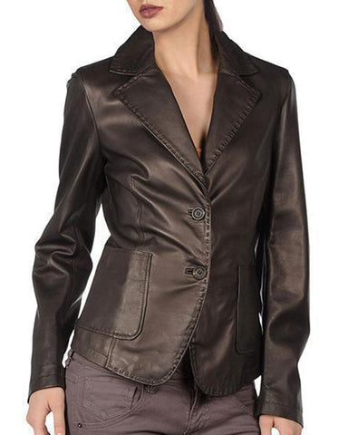 Super Silky Dark Brown Women Leather Coats - Get Custom Leather Jackets