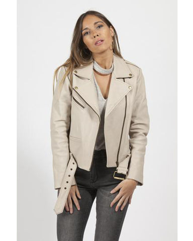 Elly Nude Cowhide Biker Leather Jacket for Women - Get Custom Leather Jackets