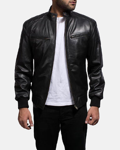 Super Puffer Black Leather Jacket - Get Custom Leather Jackets