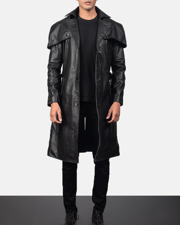 Deux Black Leather Duster - Get Custom Leather Jackets
