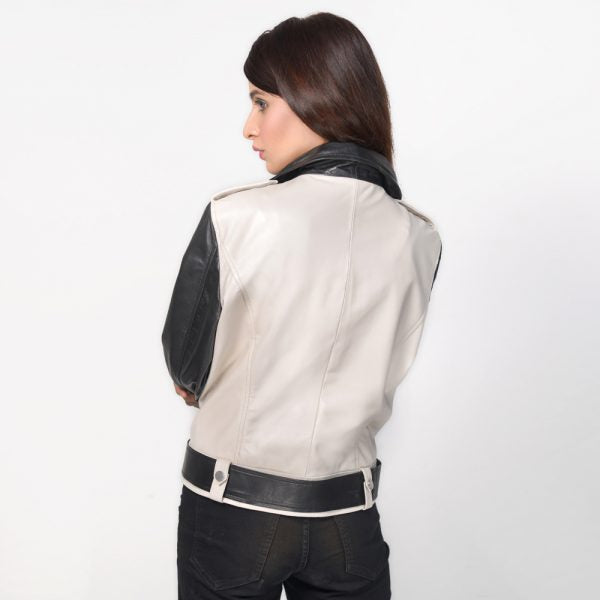 Off-White Leather  Biker Jacket - Get Custom Leather Jackets