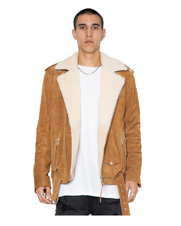 Bryan Biker Sherpa Suede Jacket for Men Cognac - Get Custom Leather Jackets