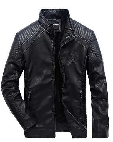 MORUANCLE Men's Fleeced Motorcycle Leather Jacket - Get Custom Leather Jackets