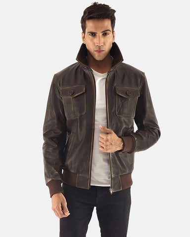 Brown Leather Smooth Bomber Jacket - Get Custom Leather Jackets
