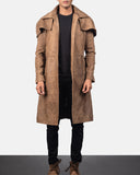Army Brown Leather Duster - Get Custom Leather Jackets