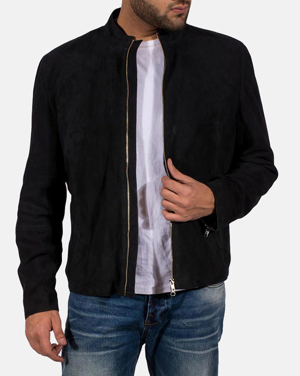 Mens Charcoal Black Suede Jacket - Get Custom Leather Jackets
