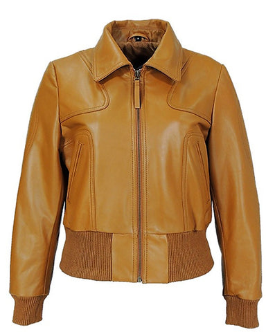Milan Tan Leather Bomber Jacket - Get Custom Leather Jackets