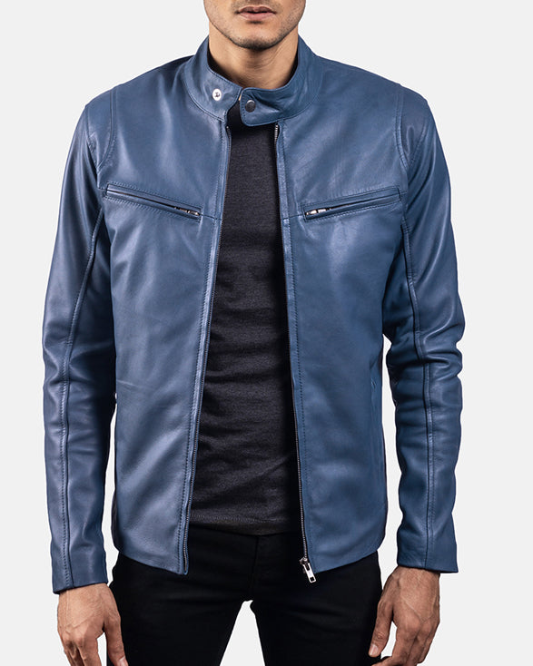Ionic Blue Leather Biker Jacket - Get Custom Leather Jackets