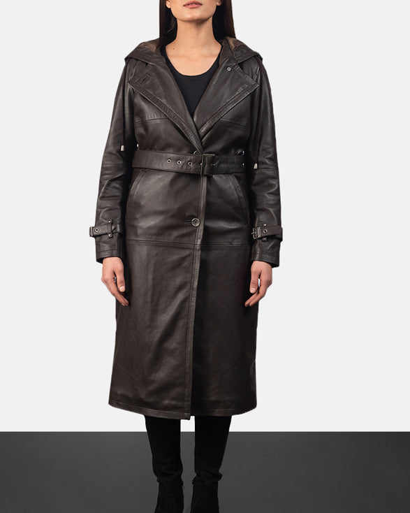 Fixon Hooded Black Trench Coat - Get Custom Leather Jackets