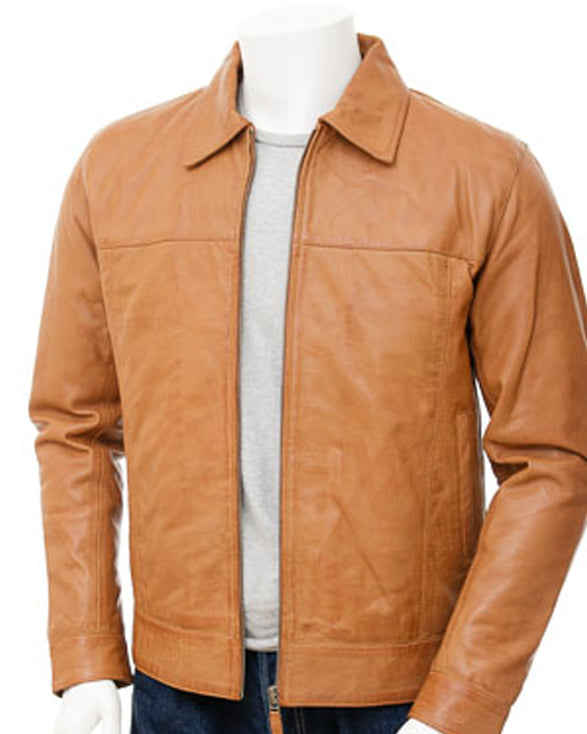 Mens Leather Jacket in Tan: Leverkusen - Get Custom Leather Jackets