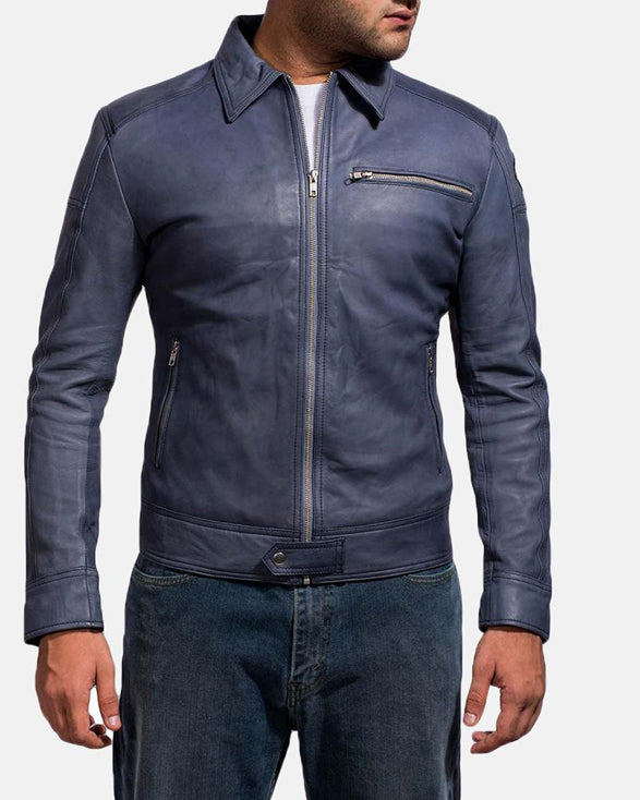 Blue Leather Biker Jacket - Get Custom Leather Jackets
