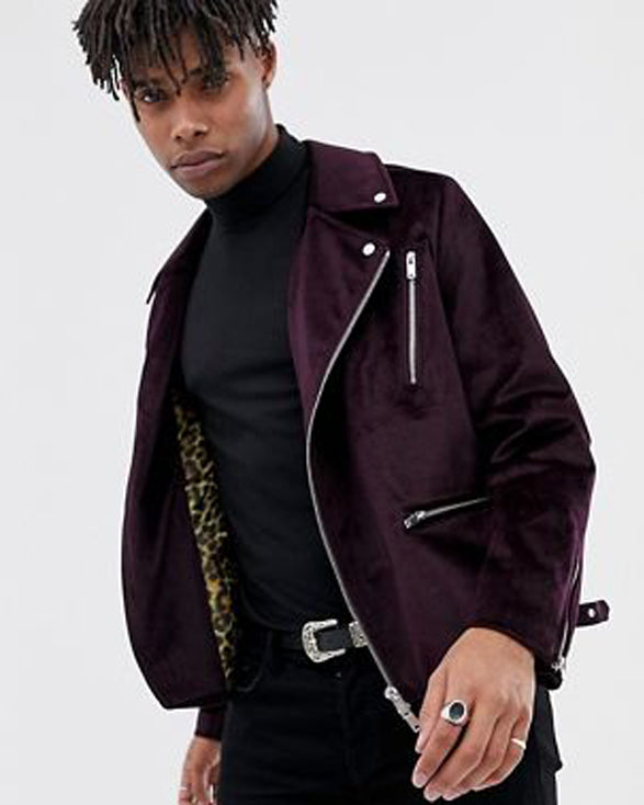 Purple Velour Biker Jacket - Get Custom Leather Jackets