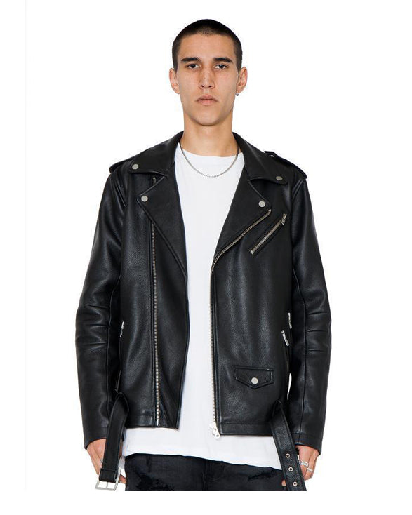 Bryan Biker Leather Jacket Black - Get Custom Leather Jackets