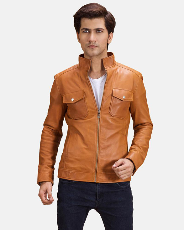 Super Flat zip Leather Biker Jacket - Get Custom Leather Jackets