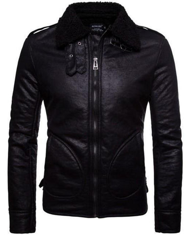 Men Real Sheepskin Fur Collar Slim Fit Leather Jacket - Get Custom Leather Jackets