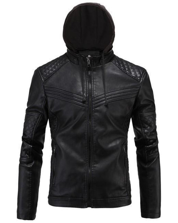 Men's Real Leather Motorcycle jacket with Removable Hood - Get Custom Leather Jackets