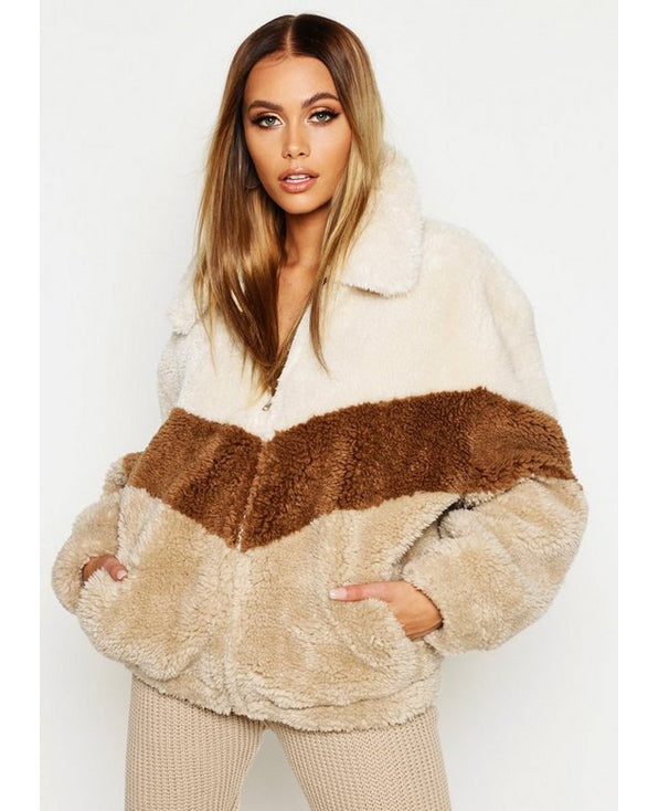 Tonal Stripe Teddy Faux Fur Bomber - Get Custom Leather Jackets