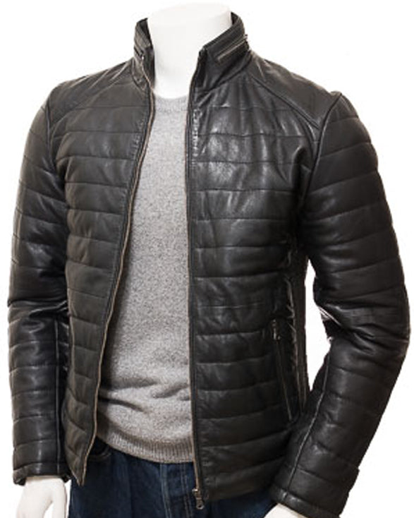 Men's Black Quilted Leather coat: Hawkchurch - Get Custom Leather Jackets