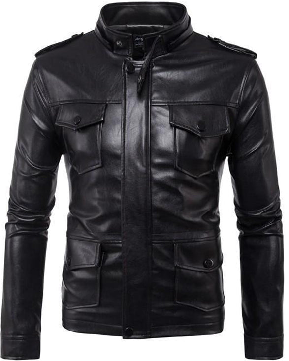 MORUANCLE Men's Hooded Leather Jackets Size M-5XL Multi Pockets - Get Custom Leather Jackets