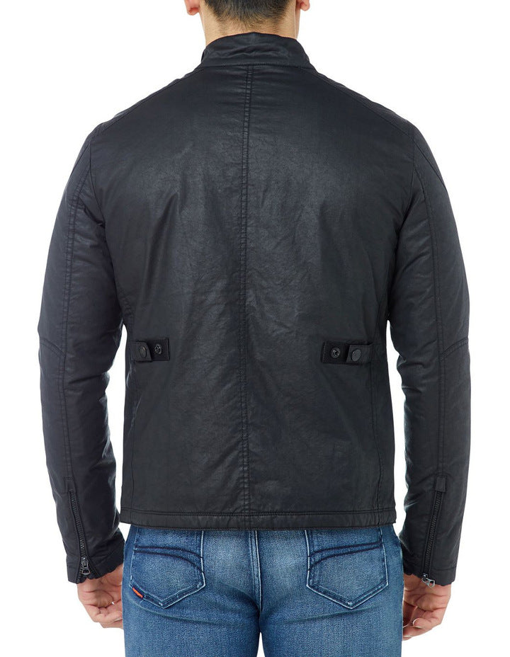 Roter Jacket black color for man - Get Custom Leather Jackets