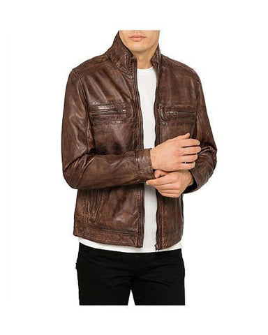 Lambskin Leather Zip Jacket For Men - Get Custom Leather Jackets
