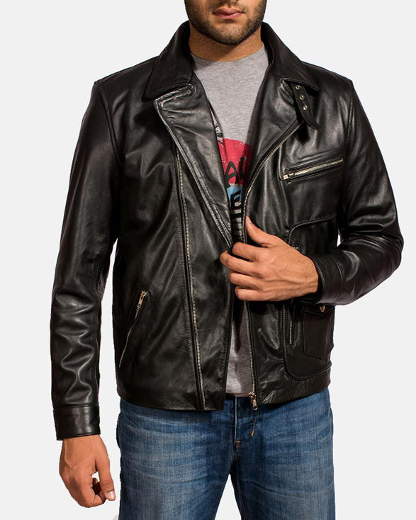 Black Leather Biker Jacket for Men - Get Custom Leather Jackets