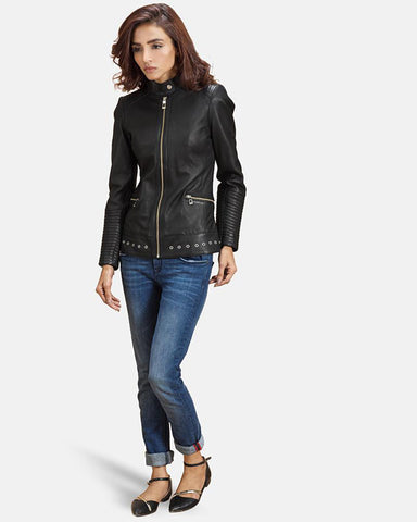 Express Haley Ray Black Leather Biker Jacket for Women - Get Custom Leather Jackets