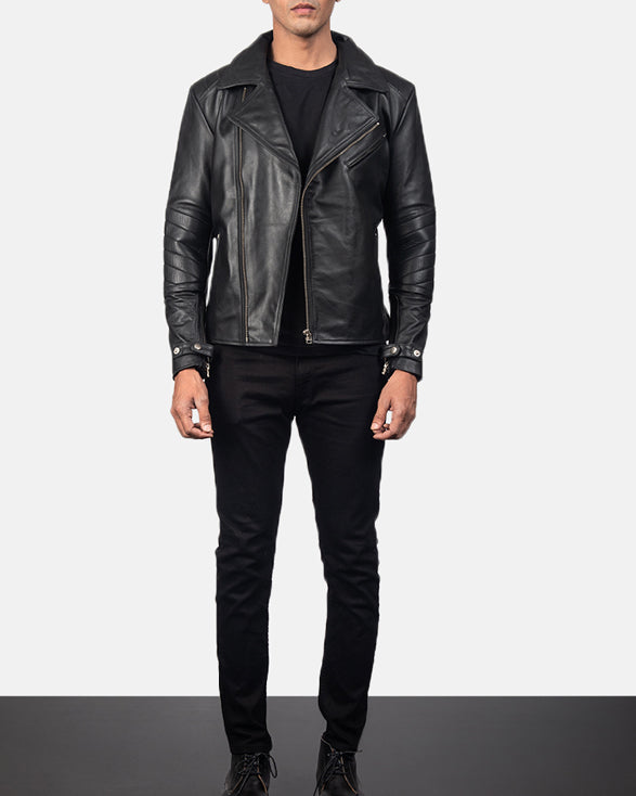 Raiden Black Leather Biker Jacket - Get Custom Leather Jackets