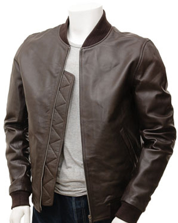 Men's Brown Leather Bomber coat - Get Custom Leather Jackets
