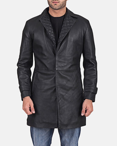 Infinity Black Leather Coat - Get Custom Leather Jackets