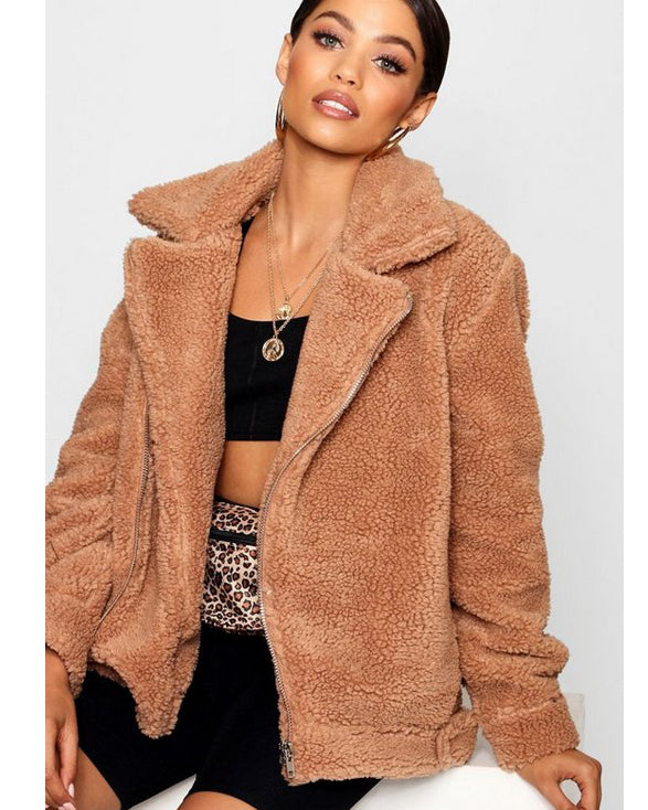 Teddy Faux Fur Aviator - Get Custom Leather Jackets