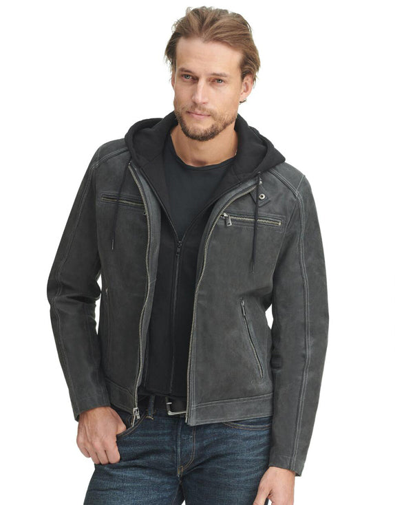Jake Vintage Hooded Leather Moto Jacket - Get Custom Leather Jackets