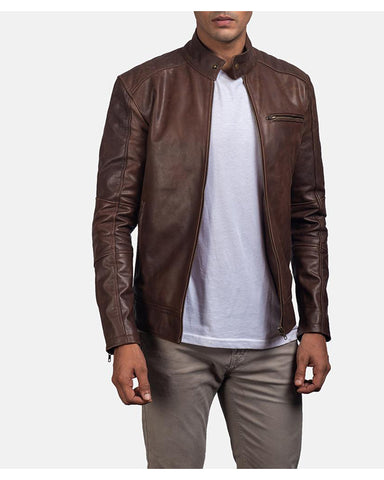 Brown Leather Biker Jacket - Get Custom Leather Jackets