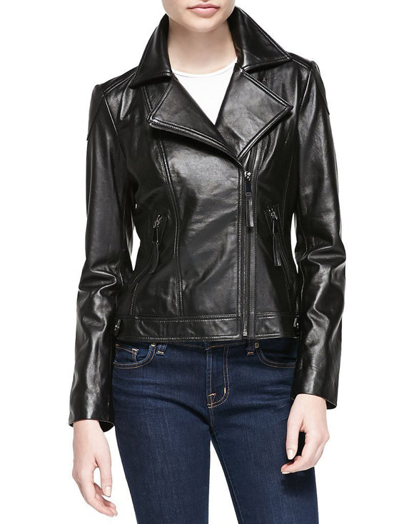 Super Natasha Women Biker Black Leather Jackets - Get Custom Leather Jackets
