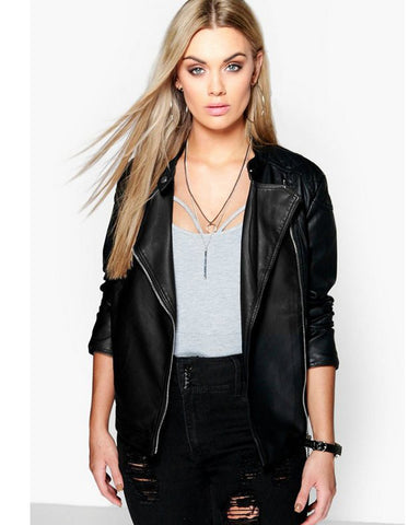 Plus Quilted Faux Leather Biker Jacket - Get Custom Leather Jackets