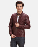 Blix Bono Maroon Leather Biker Jacket - Get Custom Leather Jackets
