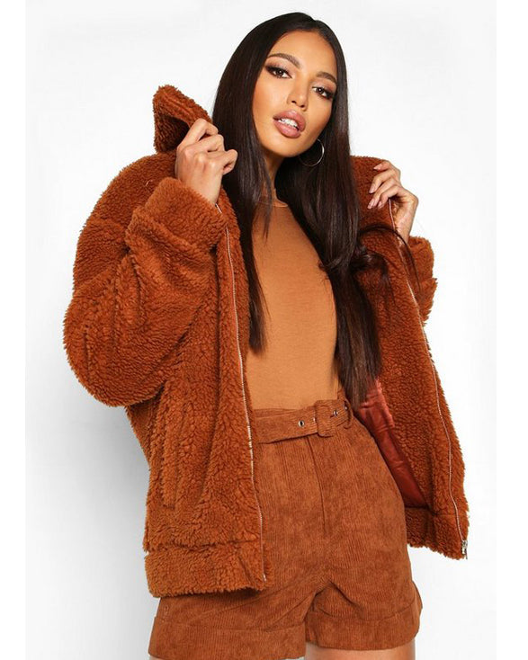 Oversized Teddy Faux Fur Bomber Jacket For Womens - Get Custom Leather Jackets