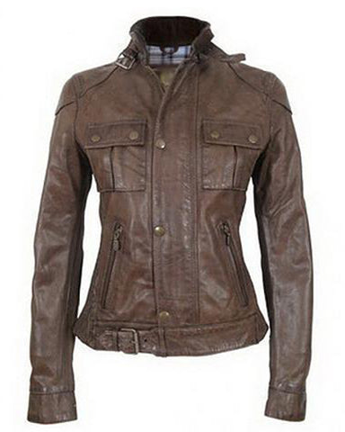 Super Double Pocket Women Classic Dark Brown Leather Jacket - Get Custom Leather Jackets