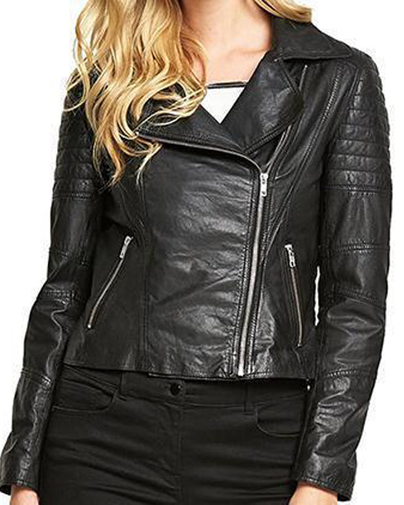 Super Minsy Women Biker Black Leather Jackets - Get Custom Leather Jackets