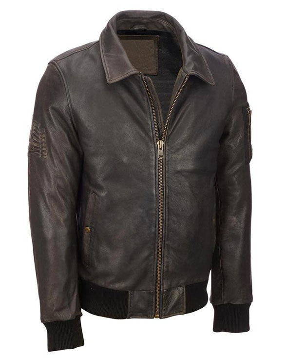 Mens  Vintage Brown Distressed Leather Jacket - Get Custom Leather Jackets