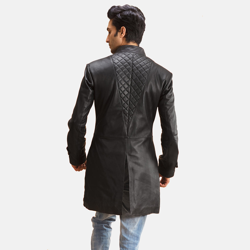 Midlander Quilted Black Leather Coat - Get Custom Leather Jackets