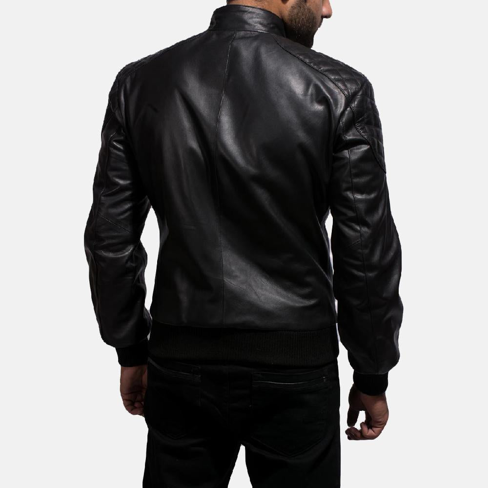 Black Leather Bomber Jacket for Men - Get Custom Leather Jackets